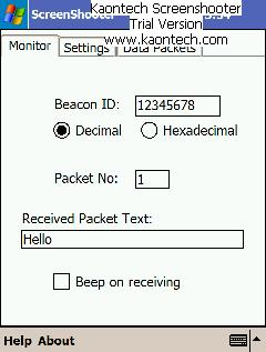 Screenshot of PDA receiving Beacon ID and the text Hello