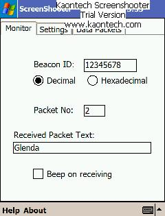 Screenshot of PDA receiving Beacon ID and the text Glenda