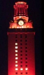 UT tower lit with an L