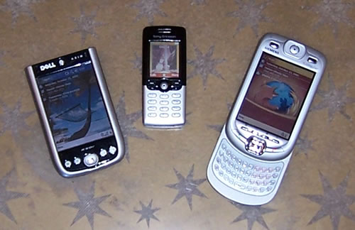 Glenda's PDA, Mobile Phone and the Siemens SX66.